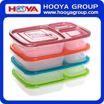 3-compartment Bento Lunch Box Containers Multifunctional BPA Free Plastic lunch box