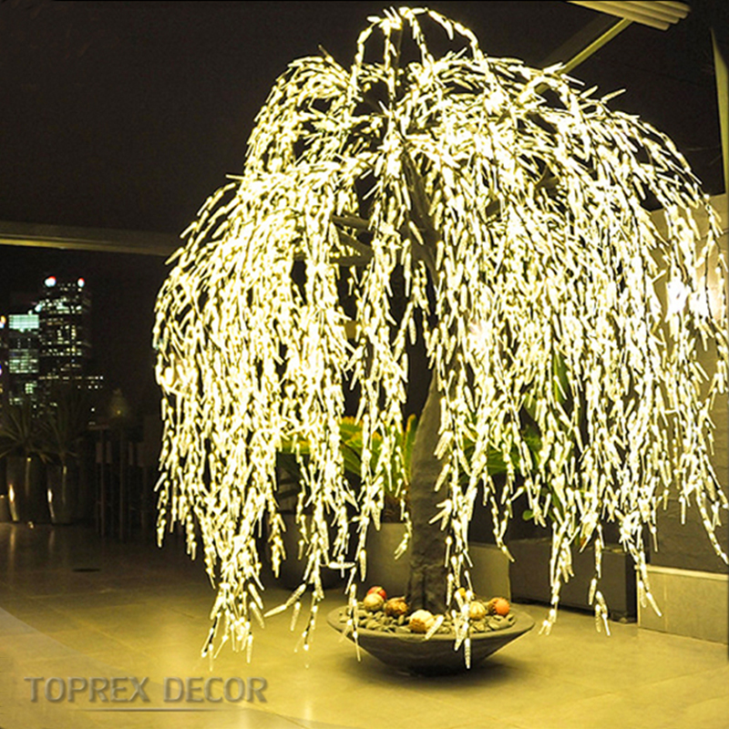 Iluminadas artificiais weeping willow tree luzes led