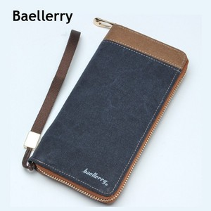 Baellerry canvas stitching cow boy men wallet zipper long shaped boy pocket wallet hot sales