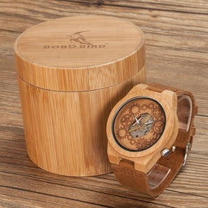 BOBO BIRD dropshipping luxury natural bamboo handmade erkek wooden timepiece with leather wristband