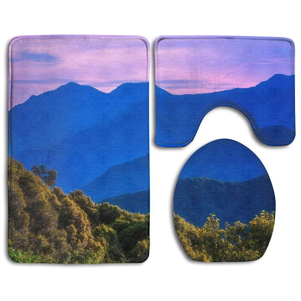 EWFXZq Blue Sky Purple Nature Mountains Landscape Fashion Bathroom Rug Mats Set 3 Piece Anti-skid Pads Bath Mat + Contour + Toilet Lid Cover