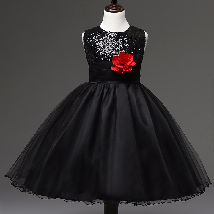 Black Ball Gown Organza 2018 delle Paillettes Custom Made Flower Girl Party Dress