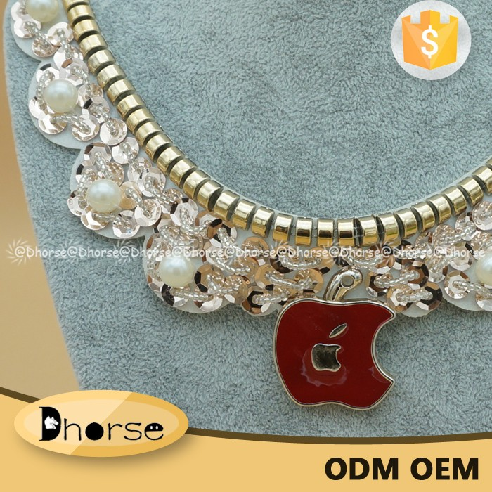 Factory price custom gold sequined beaded collar patch work in blouse neck designs DHDC2013
