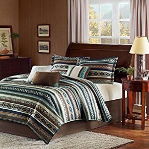 7 Piece Turqouise Blue Brown Tan Southwest Comforter King Set, Native American Southwestern Bedding, Horizontal Tribal Stripes Geometric Motifs Lodge, Indian Themed Pattern, Vibrant Western Colors