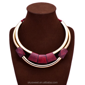 Multilayer square wooden necklace, indian copper tube jewelry(SWTJU1185)