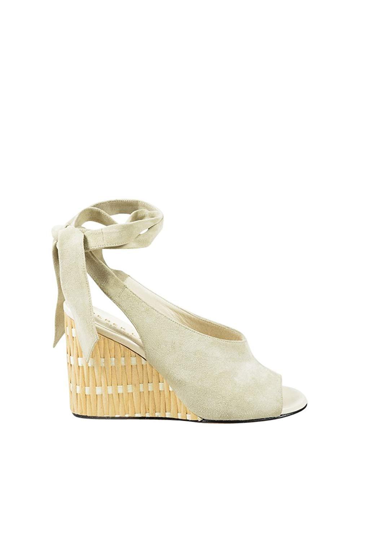 4079ce4602f Get Quotations · Derek Lam Women s Milk Cream Suede Ankle Wrap Maude Bamboo  Wedge Sandals SZ 41