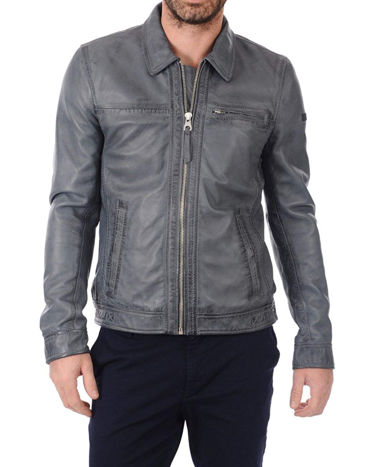 LEATHER FARM Men's Lambskin Leather Bomber Motercycle Jacket