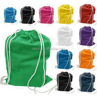 Custom printing promotion cheap canvas gym drawstring backpack bag