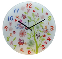 cute colorful pure design glass wall clock home decortions