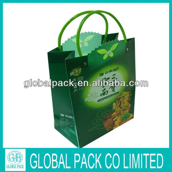 flat bottom side gusset customized Plastic gift bag with handle wholesale