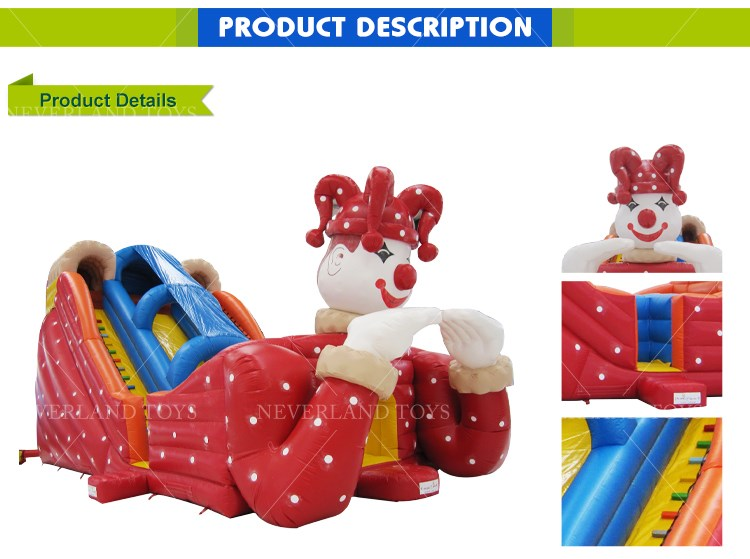 NEVERLAND TOYS Giant Clown Inflatable Bouncers with Slide Lovely Bouncing Castle Inflatable Toys for Kids