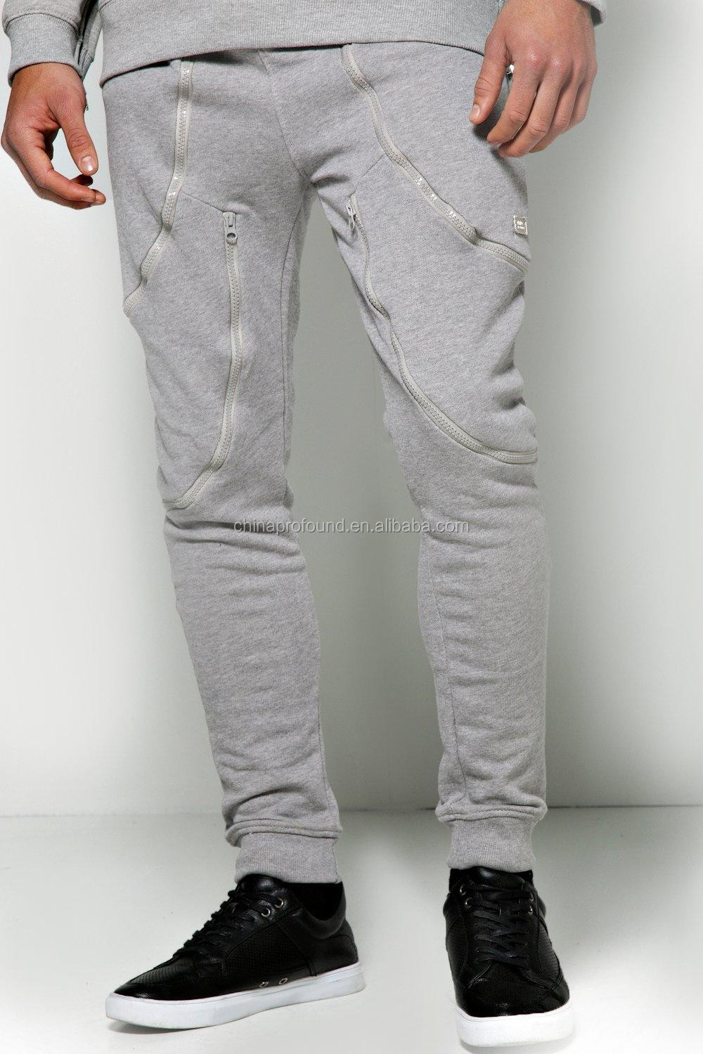 100% cotton french terry plain zipper sports sweat pants for men