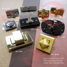 Golden metal turn lock for handbag hardware fittings