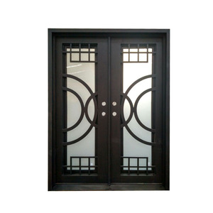 Modern exterior main wrought iron double entry swing door designs for houses