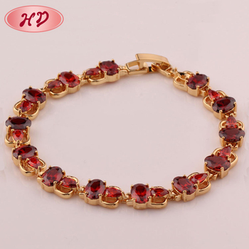 18k Rose Gold Ruby Chain Bracelet Designs For WomanRuby Zircon