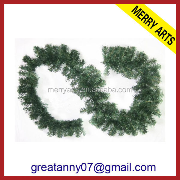 Jinhua yiwu new products 9ft 270cm christmas decorations garland green tinsel garland wholesale