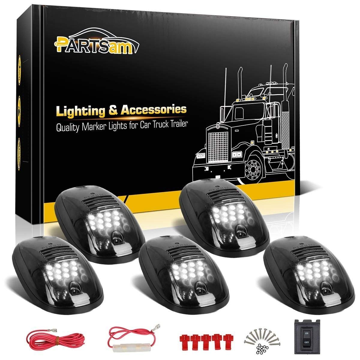 Cheap Roof Marker Lamps Find Deals On Line At Wiring Harness Smoke Get Quotations Partsam 5x Cab Running Clearance White 12 Led Lights W Wire