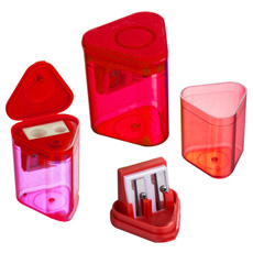 New cheap double side printing logo  wood flour box gear shape red clear plastic white flip open round small 2B pencil sharpener