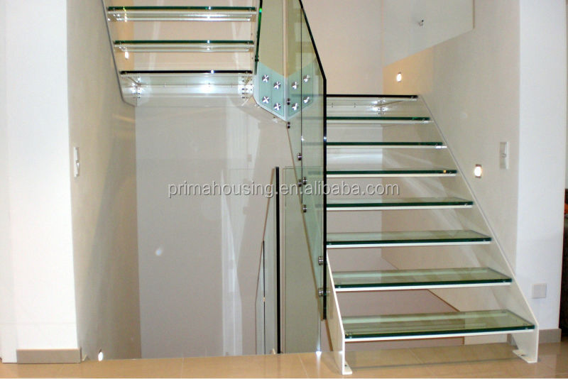 Laminated Tempered Glass Stair Floating Glass Staircase(PR L1074)