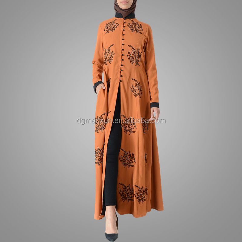 Latest embroidered muslim front open abaya islamic clothing for women turkish cardigan