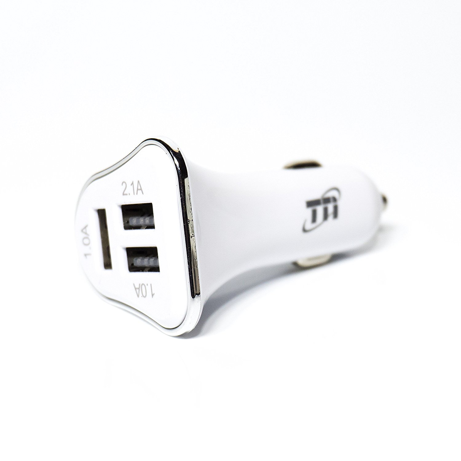 USB Car Charger, TNI New 3 USB Port Car Charger, One Smart Port 2.1A USB Fast Charge Port, and Two Universal 1.0A USB Port for iPads, iPhone 5,6,7, Samsung Galaxy S7, S7 Edge, Note (White)