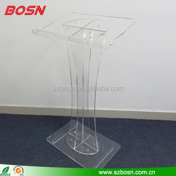 Factory Direct sale Plastic Lucite Lectern for Floor, X-Shaped Post, Rubber Feet
