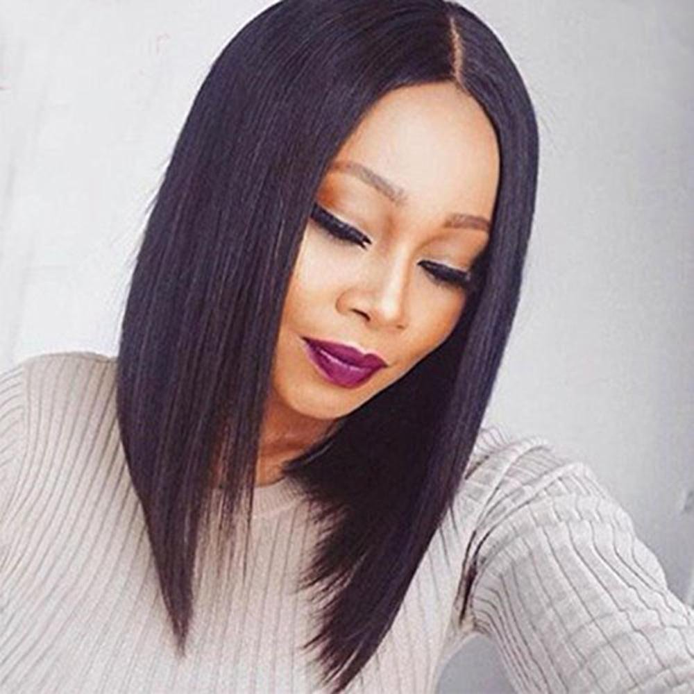 Oulaer Short Bob Human Hair Lace Front Wigs for Black Women Straight Lace Front Human Hair Wigs with Baby Hair Full Lace Bob Silky Straight Wigs 10 Inches Full Lace Wigs