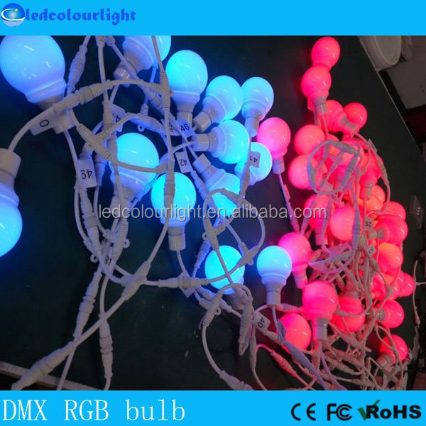 rgb pixel christmas light DMX ARTNET manual address 80mm RGB led bulb light