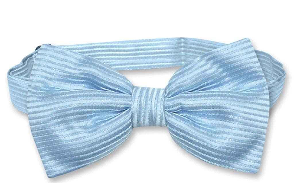 Vesuvio Napoli BOWTie Baby Blue Color Horizontal Striped Design Men's Bow Tie
