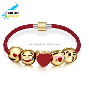 Wholesale 18K Gold Plated 5 pcs Bead Charms Red Leather Chain Emoji Bracelet For Women Gril