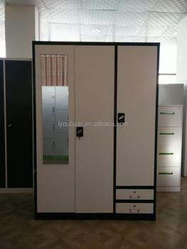KD Steel Armoire 3 Door Bedroom Big Wardrobe Godrej Almirah Designs