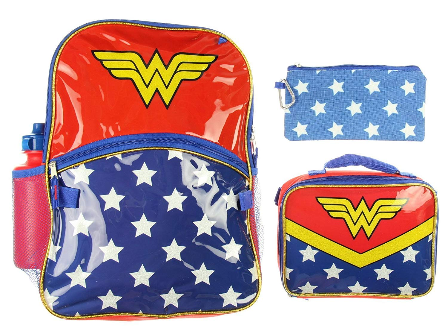 a7a5b42752e1 Get Quotations · Wonder Woman Backpack Girls 5 Piece Lunch Box Water Bottle  Back to School Set