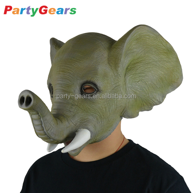 Latex ELEPHANT Head Party Mask Halloween Hen Stag Props Play Photography