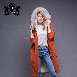 Newly bright orange parka jacket genuine lamb fur lined coat women winter parka with raccoon fur collar