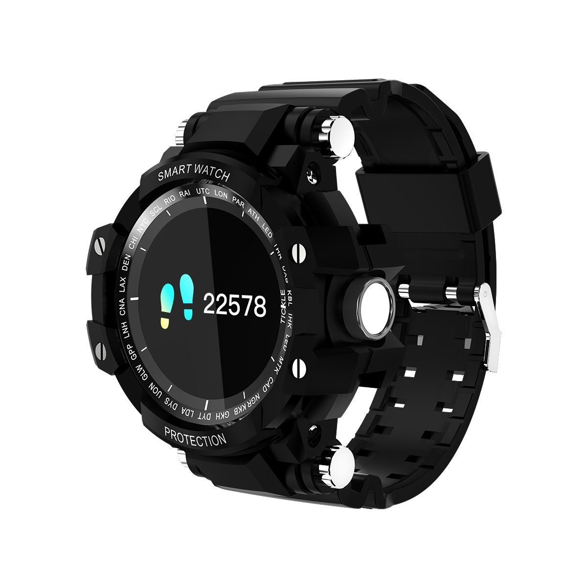 Smart Bluetooth Sport watch Migemi-Tech ZSZ18B Full Screen view One key Control Waterproof Heart Rate Pedometer For Android IOS Smart Mobile Phone (Black)