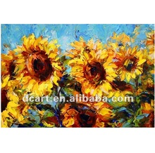 High Quality heavy texture Sunflower Canvas Oil Painting