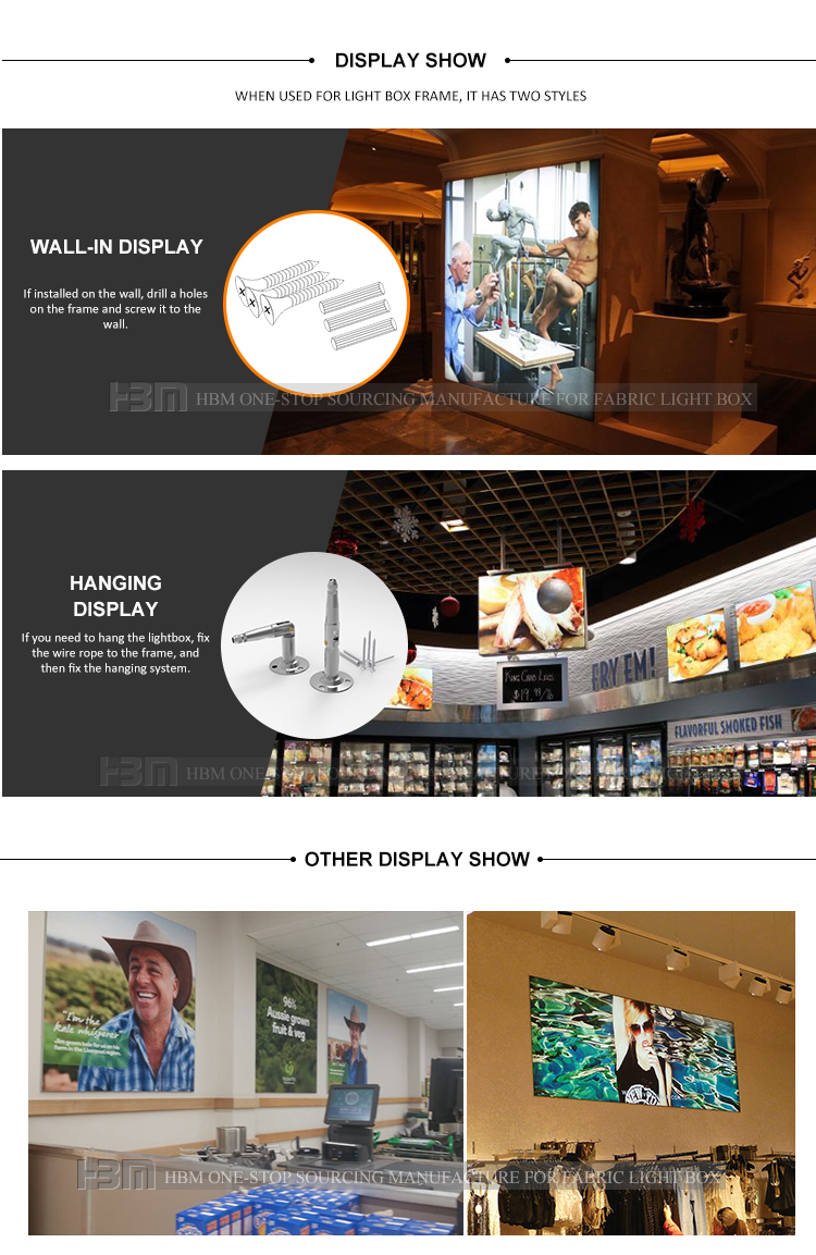 two sides photo frame 40mm ultra slim aluminum extrusion profile for Led advertising light box