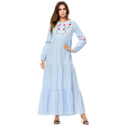 wholesale islamic clothing light blue dubai abaya embroidery abaya dress women muslim long sleeve long dress