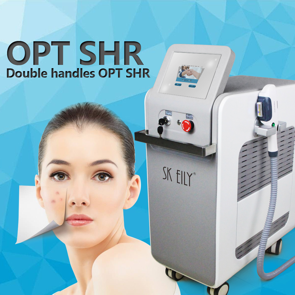 Professional two handle tools opt ipl shr hair removal machine