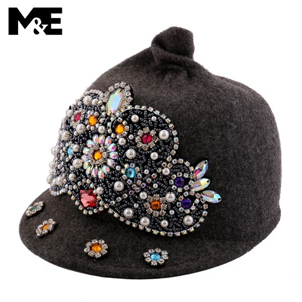 9dd678de0029b Get Quotations · New fashion cap for women hats diamond trilby cloche hat  with beads wool cap fedora hat