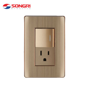 Songri 15A 250V Vertical Type Aluminum Frame Electric Wall Switch and Socket