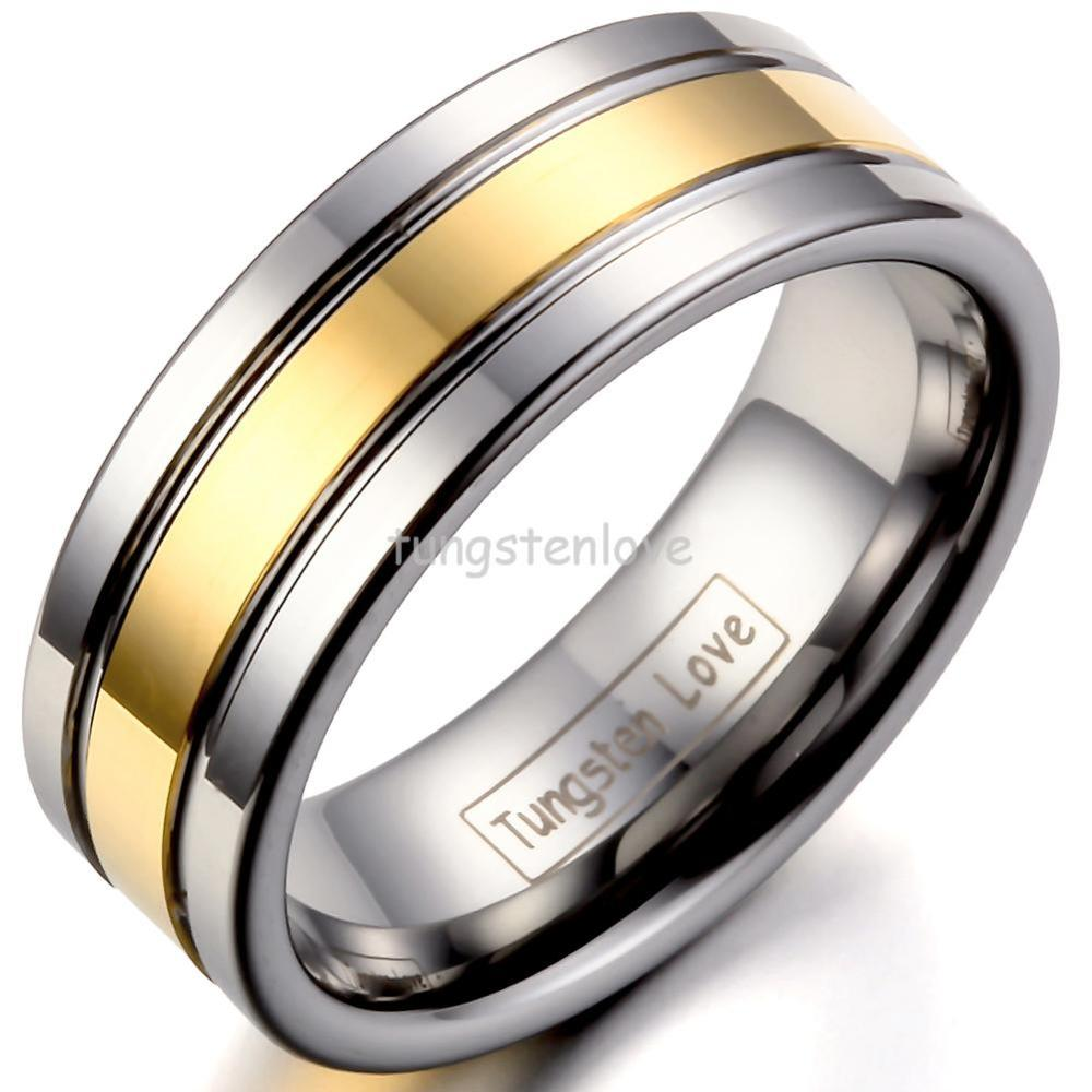 High Quality Silver Gold Tungsten Carbide Rings Mens