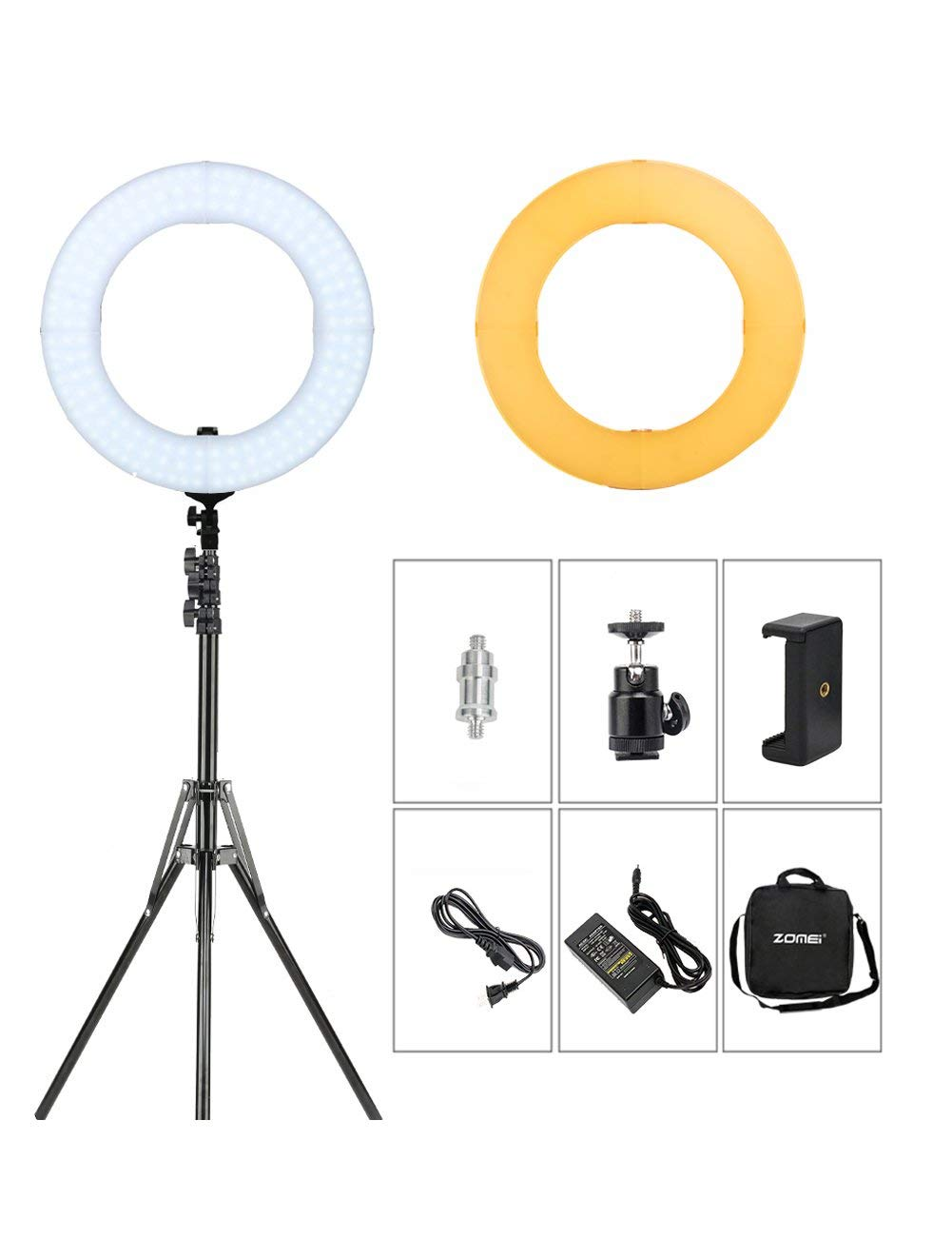 """ZOMEI 14"""" LED Ring Light Dimmable 41W 5500K Photography Lights for Makeup Youtube Videos Photo Shoot Live Streaming With Light Stand and Orange Filters"""