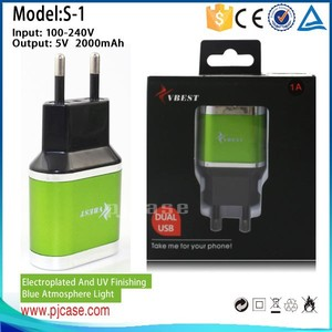 Hight quality 5V 2000mah Dual USB travel charger with EU Plug 2 pin for Mobile phone Andriod Charger for iphone Charger