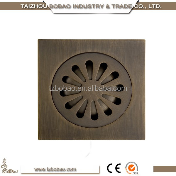 Decorative Brass Inch Gold Plated Floor Drain Bathroom Antique - Decorative square shower drain cover