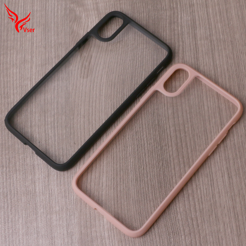 Colorful Frame Bumper Protect Camera Ultra Thin Clear Acrylic PC Soft TPU Phone Case for iphone x