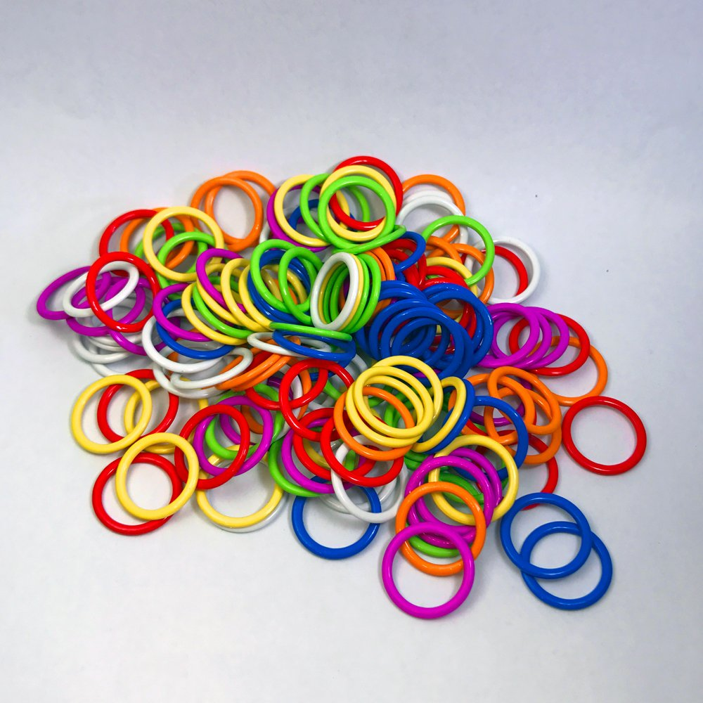 (140 Pieces) HARD Stitch Ring Markers (Available in 2 sizes, Includes 7 colors, for knitting/crochet/etc) (Medium Internal diameter 10mm)