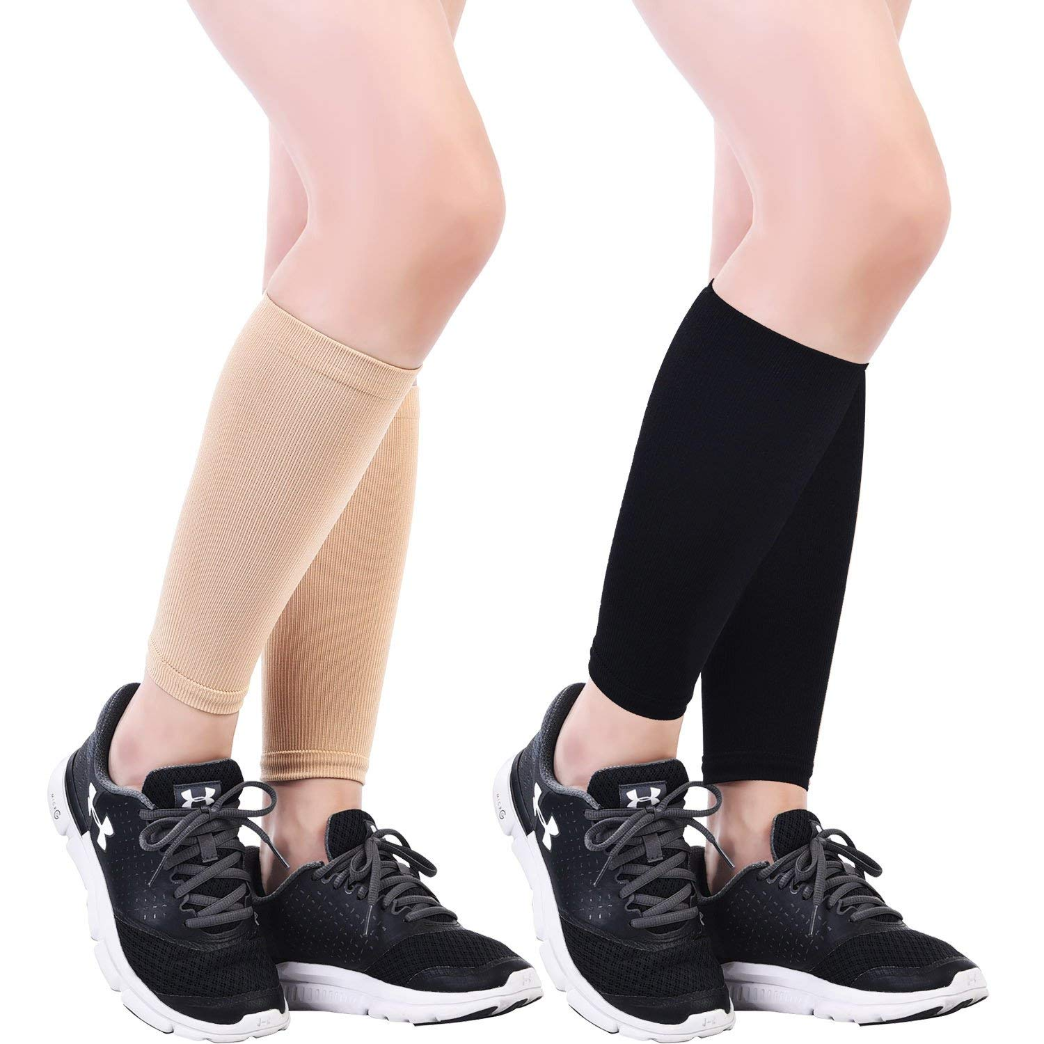 Gejoy 2 Pairs Leg Compression Sleeves Calf Sleeve Elastic Relieve Pain Calf Sleeves for Sports and Fitness, 2 Colors