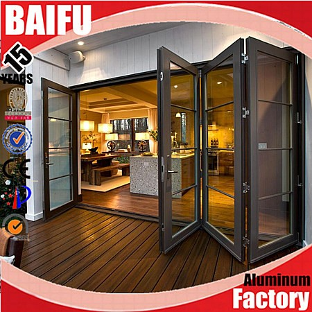 BaiFu AS2047 Glass Front Aluminum Folding Italian Kitchen Doors In Low Price