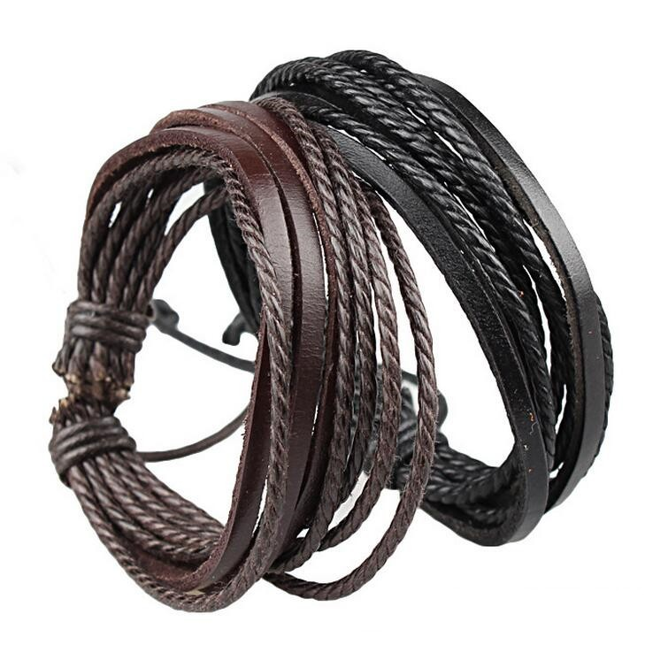 Free Shipping 2016 Fashion Jewelry Wrap Charm Genuine Leather Bracelet with Braided rope Unisex for Men & Women